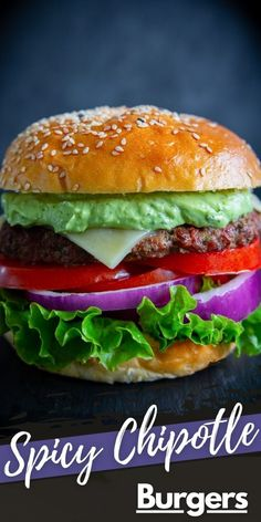 These Spicy Chipotle Burgers with Avocado Sauce are a delicious blend of spicy chipotle pepper, creamy avocado, and juicy burger. This recipe is sure to become a family favorite. Homemade Chipotle, Burger Recipes, Gourmet Recipes, Mexican Food Recipes, Snack Recipes, Cooking Recipes, Snacks, Home Burger