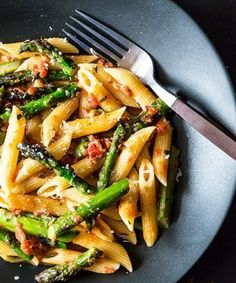Food52's latest weeknight meal features asparagus and tomatoes.