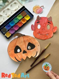 Red Ted Art's free printable Halloween Masks + educational activity pack. Learn all about the Story of Stingy Jack, write a poem and get acting out the story with our Devil and Pumpkin Masks!