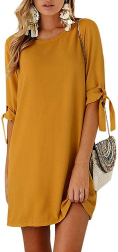 YOINS Summer Dresses for Women Half Sleeves T Shirts Solid Crew Neck Tunics Self-tie Blouses Mini Dresses Tie Blouse, Blouse Dress, Tunic Dresses, Dress Outfits, Mini Dresses For Women, Clothes For Women, Mothers Day Dresses, Mini Dress With Sleeves, Half Sleeves