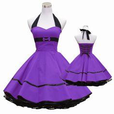 50's vintage dress full skirt purple black sweetheart bow design lace back  custom made Retro
