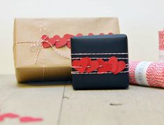 Heart garland gift wrap for Valentine's Day