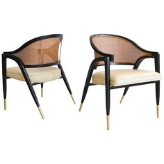 Edward Wormley for Dunbar Pair of Sculpted Armchairs, circa 1955 | See more antique and modern Armchairs at https://www.1stdibs.com/furniture/seating/armchairs