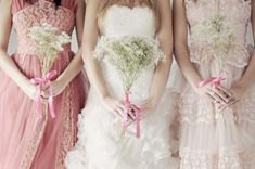 baby's breath bouquets & ombre pink bridesmaids ~ love this shoot!