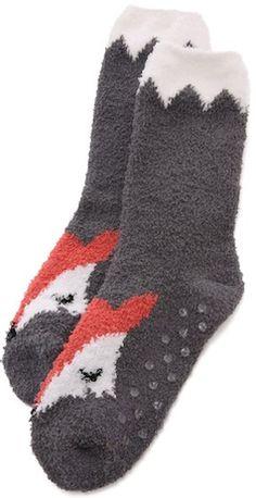 Warm fur grey fox socks