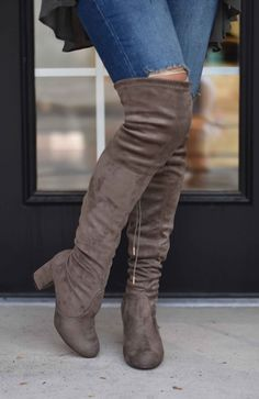 Taupe Suede Over The Knee Boots | Lane 201 Boutique