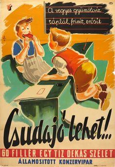 60 fillér egy tíz dekás szelet gyümölcsíz Vintage Advertisements, Vintage Ads, Vintage Posters, Graphic Design Illustration, Graphic Art, Retro Kids, Inspirational Artwork, Advertising Poster, Illustrations And Posters
