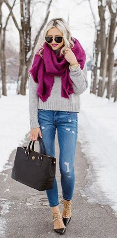 Purple Scarf / Grey Knit / Ripped Skinny Jeans / Black Studded Pumps / Black Leather Tote Bag