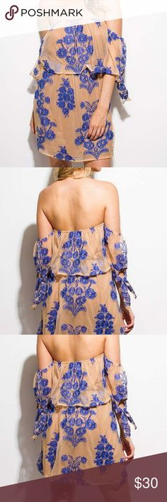 Beautiful Off Shoulder Dress Floral embroidered mesh dress.  This dress is truly STUNNING Dresses Strapless