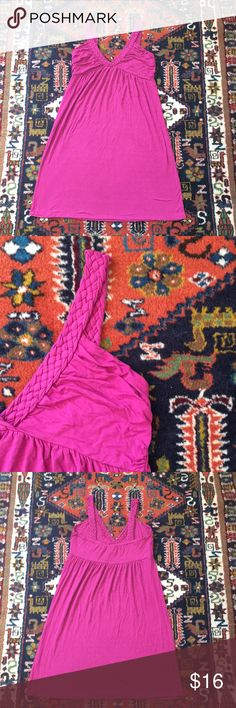 """Fuchsia Dress 💓👗💓 Fuchsia dress with braided straps. Pre-loved in good condition with regular signs of wash and wear. Size large. Approximately 35"""" from shoulder to hem. Easy to dress up or down. 95% viscose, 5% spandex Dresses"""