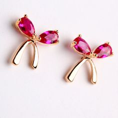 $14.99 USD[grxjy5300162]Sweet Bowknot Shaped Stud Earrings Studded with Rose