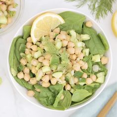 ✔ Recipes Videos Lunch Make Ahead Cucumber Dill Salad, Cucumber Recipes, Spinach Recipes, Lemon Recipes, Salad Recipes, Cucumber Ideas, Vegetarian Options, Vegetarian Recipes, Healthy Recipes