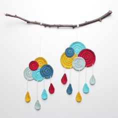 Amazing colourful clouds by Crochet Garland, Crochet Diy, Crochet Decoration, Crochet Chart, Crochet Home, Thread Crochet, Love Crochet, Crochet Doilies, Crochet Flowers