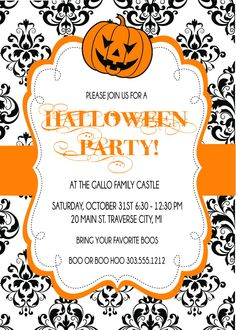 Damask Halloween Party Invitations