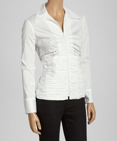 Take a look at this White Ruched Button-Up on zulily today!