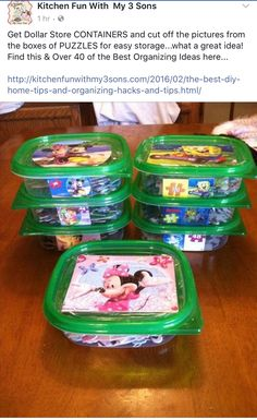 toy rooms Cant stand toys and books everywhere in your house Try these 34 toy storage ideas amp; kids room organization hacks to transform your kids messy room. Puzzle Organization, Kids Room Organization, Organization Hacks, Organizing Ideas, Playroom Ideas, Puzzle Storage, Organizing Toys, Organising, Dollar Store Organization