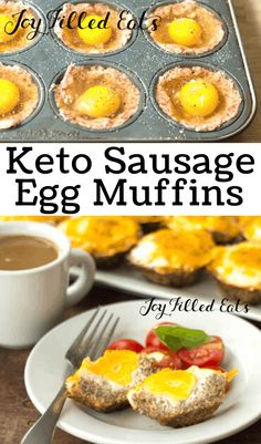 These keto Sausage Egg Muffins are a great make-ahead breakfast idea for busy mornings. Low carb, grain free, THM S, gluten-free. Sausage Egg Muffins, Breakfast Casserole Sausage, Sausage And Egg, Breakfast Hash, Breakfast Cookies, Low Carb Egg Muffins, Keto Casserole, Casserole Recipes, Keto Foods