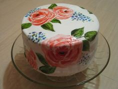 painted flower cake i made for a birthday
