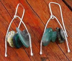 Ancient Roman Glass Dangles On Hammered by MountainMagicJewelry
