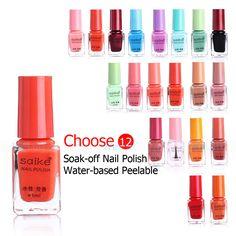 12pcs/lot Nail Polish Water-based Peelable Innocuity Nail Enamel Soak-off Nail Beauty For Girls Ladys