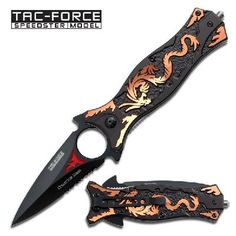 Tac Force Knives - Part Serrated Dragon Linerlock Knife with Blue Dragon Cutout Black Aluminum Handles. red flame, enlarged finger hole and extended tangs. Black aluminum handles with anodized laser cutout of dragon. Pretty Knives, Cool Knives, Gold Dragon, Blue Dragon, Swords And Daggers, Knives And Swords, Automatic Knives, Samurai Swords, Camping Accessories