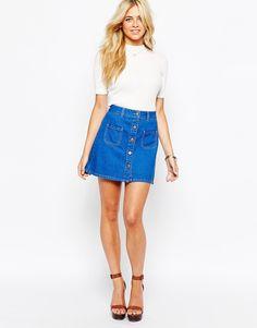 Fashion+Union+Denim+Mini+Button+Through+Skirt