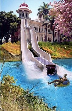 A water slide from your bedroom to an outdoor pool - definitely a necessity for any house!