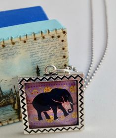 Items similar to Elephant Purple and Pink Cabochon Square Silver Pendant Ball Chain on Etsy Cat Collector, Black Berets, Dancing In The Moonlight, Clay Figurine, Blue Polka Dots, Keepsake Boxes, Ball Chain, Purple