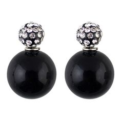 Double Ended Faux Pearl Rhinestone Earrings ($5) ❤ liked on Polyvore featuring jewelry, earrings, black, rhinestone stud earrings, fake pearl jewelry, round earrings, oversized earrings and oversized jewelry