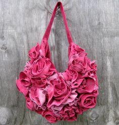 Rose Couture Bag Italian Calf Suede Leather Purse
