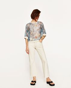 ZARA - WOMAN - PRINTED ORGANZA TOP WITH PIPING