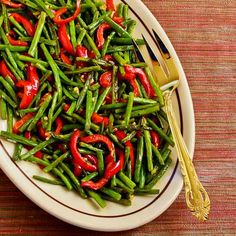 Recipe for Roasted Green Beans and Red Bell Pepper with Garlic and Ginger; this is a delicious red-and-green side dish for a holiday meal. [from KalynsKitchen.com] #HealthyHolidays