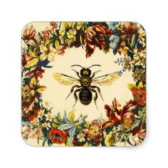 SPRING FLOWERS HONEY BEE / BEEKEEPER SQUARE STICKER,Elegant and classy vintage style floral apiarist design with colorful flower crown easily customizable for your business.