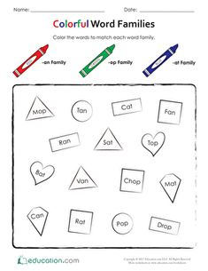 Help your kindergarten child practice reading with this printable phonics worksheet that& all about word families. Family Worksheet, Phonics Worksheets, Match Me, Word Families, Some Words, Kindergarten, Writing, Education, Reading