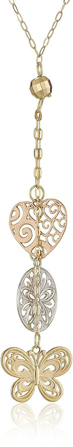 14k Gold Tri-Color Heart, Butterfly, and Disc Lariat Necklace, 18 inches -- See this great product.