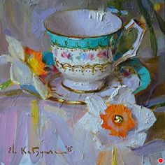Cup and Daffodils by Elena Katsyura Oil ~ 6 x 6