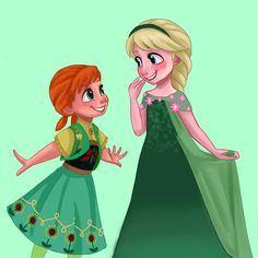 ❤️❄️ Little Elsa and little Anna with dresses frozen fever❄️❤️