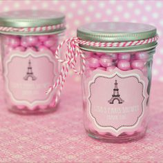 24 Parisian Paris Themed Personalized Baby Shower Mini Mason Jars Party Favor