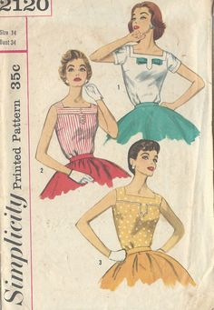 Simplicity 2120 Vintage Sewing Pattern Misses Sleeveless Blouse, Short Sleeve Blouse, Fitted Blouse Size 14 Bust 34 Moda Vintage, Vintage Tops, Vintage Stuff, Blouse Vintage, Blouse Patterns, Clothing Patterns, Patron Vintage, Vintage Outfits, Vintage Fashion