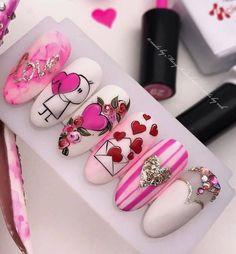 Valentine's Day Nail Designs, Nail Art Designs Videos, Pink Nails, Gel Nails, Acrylic Nails, Glitter Nails, Cute Nails, Pretty Nails, Pop Art Nails
