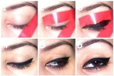 Eye Makeup diy makeup get the purrfect cat eye! I never wear eyeliner cause I cant do it properly and I fool it up sooo bad.so this is AMAZING! - Ten Different Ways of Eye Makeup Perfect Winged Eyeliner, How To Apply Eyeliner, Winged Liner, Eye Liner, Winged Eyeliner Stencil, Eyeliner Perfecto, Diy Beauty, Beauty Makeup, Fashion Beauty