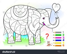 Educational page with exercises for children on addition and subtraction. Need to solve examples and to paint the elephant in relevant colors. Developing skills for counting. Preschool Assessment, Math Pages, Math Anchor Charts, 1st Grade Worksheets, Learn English Words, Illustration, Math For Kids, Exercise For Kids, Preschool Activities