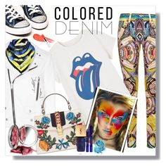 """Spring Trend: Colored Denim"" by flippintickledinc ❤ liked on Polyvore featuring Roberto Cavalli, MANGO, Yves Saint Laurent, Kris Jane, Gucci, By Terry, In Your Dreams and coloredjeans"
