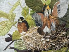 Audubon's American Robin by Marilyn Craig. Closeup photo by Cathy Geier's Quilty Art Blog: 2014 Shipshewana Quilt Festival II