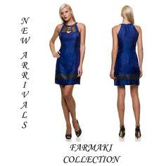 Φόρεμα μπλε με μαύρο