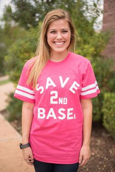 Save second base breast cancer awareness unisex t-shirt. We've partnered with our local friends from LivyLu to sell this cute t-shirt where all proceeds will go towards breast cancer research and find                                                                                                                                                                                 More
