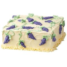 Vintage Celebration Cake - A basic square cake achieves grapeness! Decorate the clusters with dot upon dot, add some winding outline vines and a lovely leaf border. Watch our online video.