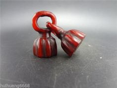 Rare Chinese Ox horn pendant / Hand-carved OX HORN Lotus netsuke .