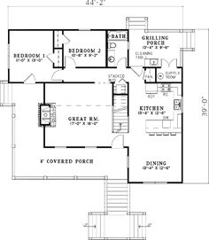 Find your dream country style house plan such as Plan which is a 1472 sq ft, 4 bed, 2 bath home with 0 garage stalls from Monster House Plans. Unique House Plans, Coastal House Plans, Porch House Plans, Southern House Plans, Country Style House Plans, Cabin Plans, House Floor Plans, Raised House, Monster House Plans