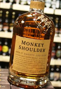 Monkey Shoulder Blended Malt #Scotch #Whiskey:  This blend of Speyside whiskeys is certainly smooth, powerful, and well made. The Malt makes its presence felt after an initial hit of sweetness, and with a smooth finish, it says style all the way.  The difference between Monkey Shoulder and many single malts is very small.  Monkey Shoulder contains Balvenie mixed with 2 other fine scotches  Try this you will not be disappointed!!